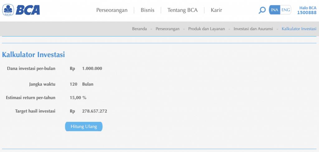 Hasil Kalkulator Rekssdana BCA