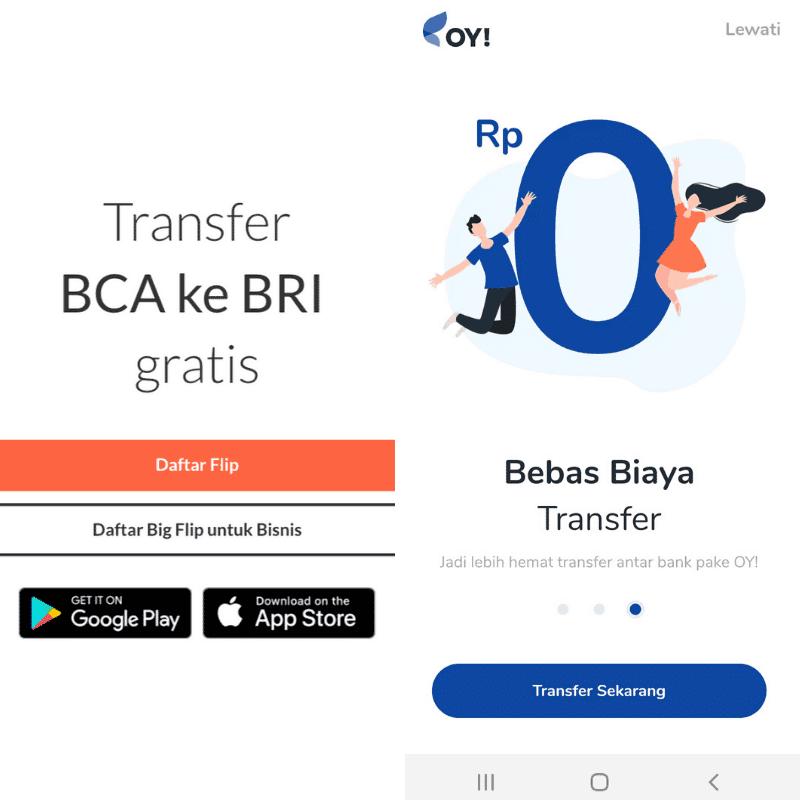 FLIP vs OY! | Transfer Kirim Uang Biaya Gratis Antar Bank Pakai HP